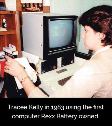 Tracee Kelly in 1983 working on a computer